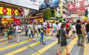 Calle en el centro de Hong Kong