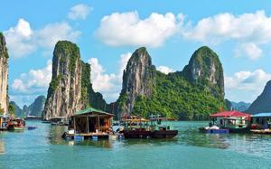 Casas flotantes en Halong Bay