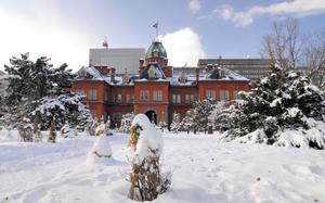 Aka Renga (Antiguo Edificio del gobierno de Hokkaido) en invierno