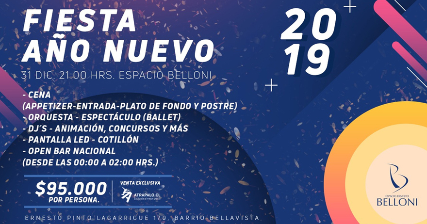 Entradas Para Ano Nuevo 2019 Cena Fiesta En Espacio Belloni